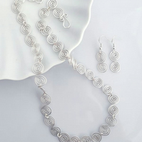 Celtic Silver Spiral Necklace & Earrings, jewellery sets
