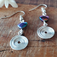 Hearts & Silver Spiral earrings, Rainbow Hematite earrings, Gifts for mum