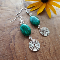 Green Malachite silver spiral earrings, Mothers day, birthday gifts for her