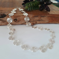 Silver spiral leaf necklace, statement jewellery