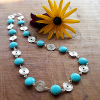 Turquoise silver spiral necklace