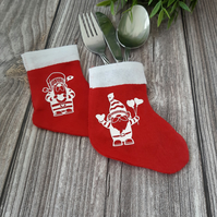Christmas stocking cutlery holders, fun table decorations for Christmas