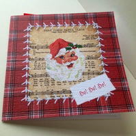 Christmas Cards Pk of Five,'Seasonal Stitches' Handfinished Xmas Cards