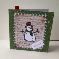 Christmas Card Pk of 5,'Vintage Stitches-Frosty the Snowman'
