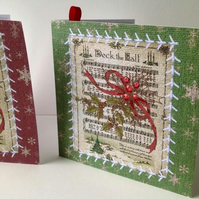 Christmas Card Pk of 5,'Vintage Deck The Halls',Handmade Xmas Cards