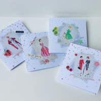 Printed and Handfinished Notecards Set of Four,Can Be Personalised