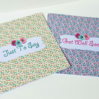 Greeting Card Pack of Four,Get Well,Just to Say,Petit Floral Design Cards