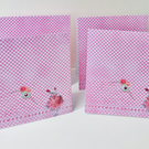 Notecards Pack of Four,Handmade Set of Notecards, Gingham and Cross Stitch Rose