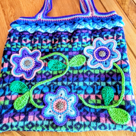 Unique bag. tote bag.  Crochet tote or workbag. Fully lined with magnetic clasp.