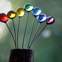 Small rainbow stained glass suncatcher ornament