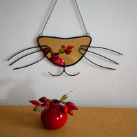 Stained glass mirror cat whiskers and nose decoration