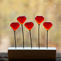 5 hearts stained glass suncatcher ornament