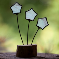 3 stars stained glass suncatcher ornament