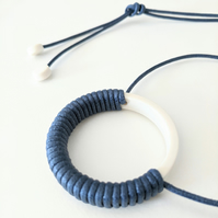 Navy blue and white wrapped porcelain necklace - comfortable necklace