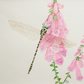 Dragonfly. Original watercolour painting of a dragonfly on foxgloves.
