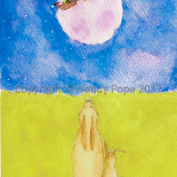 Two hares gazing at Santa as he flies in front of a pink moon!