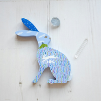 Reversible hand-painted wooden hare