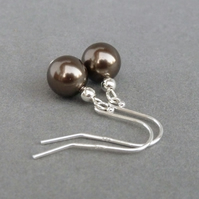 Simple Chocolate Glass Pearl Drop Earrings - Dark Brown Ball Dangle Earrings