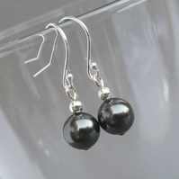 Simple Black Swarovski Pearl Drop Earrings - Dark Charcoal Grey Dangle Earrings