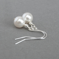 Simple White Pearl Drop Earrings - Pearl Bridal, Bridesmaids, Wedding Jewellery