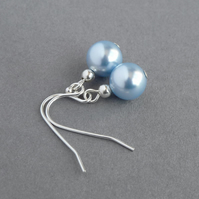 Simple Pale Blue Pearl Drop Earrings - Light Blue Bridesmaids Gifts - Wedding