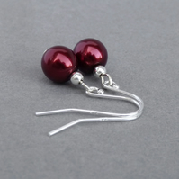Simple Burgundy Glass Pearl Drop Earrings - Dark Red Ball Dangle Earrings