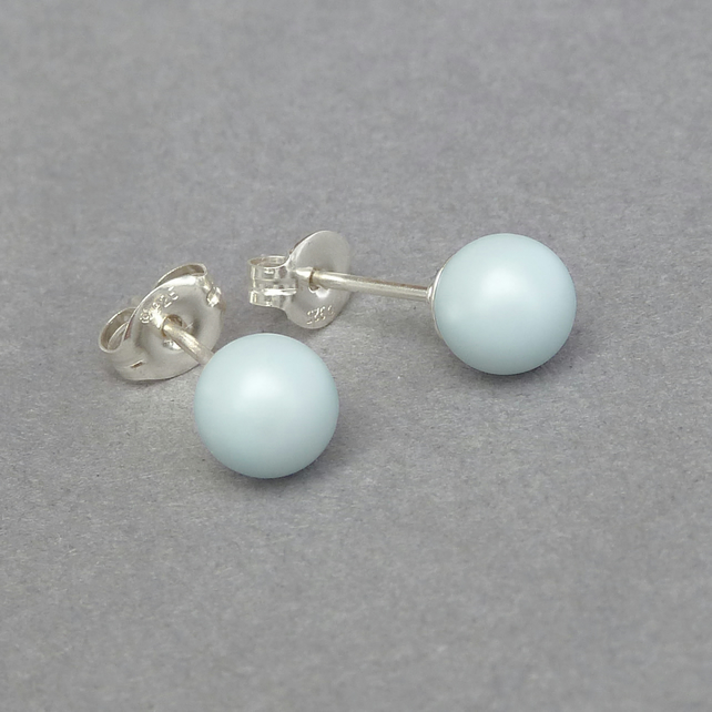 Small 6mm Matt Blue Stud Earrings - Pastel Blue Round Swarovski Pearl Studs