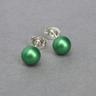 Small 6mm Emerald Coloured Glass Pearl Studs - Round Bright Green Stud Earrings