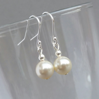 Simple Cream Pearl Earrings - Ivory Dangly Drop Earring - Wedding Jewellery Gift