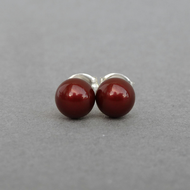 Round 6mm Burgundy Pearl Stud Earrings - Brick Red Coloured Glass Pearl Studs