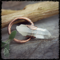 QUARTZ CRYSTAL PENDANT Wiccan Jewelry, Copper Jewelry, Crystal Jewelry, Healing