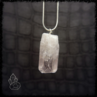 PINK DANBURITE Raw Crystal Necklace Wiccan Jewelry, Raw Crystal Pendant, Crystal