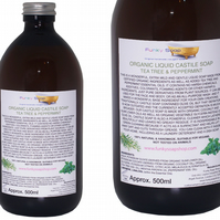 Organic Liquid Castile Soap With Tea Tree And Peppermint, 1 Glass Bottle Of 500m