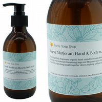 Sage & Marjoram Hand and Body wash, Glass Bottle of 250ml