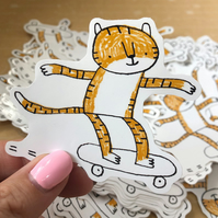 Skateboarding Tiger Vinyl Sticker