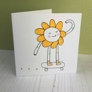 Happy Flower on a Skateboard Screenprinted Card
