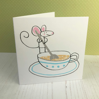 Mouse and Cup of Tea Screenprinted Card - Blank Inside