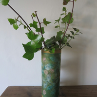 Green Leaves Pink Roses Eco Vase Wrap