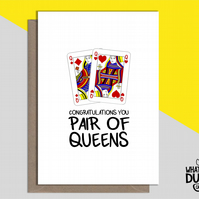 Rude & Funny Engagement Greetings Card For Weddings Of Gay Family & Friends