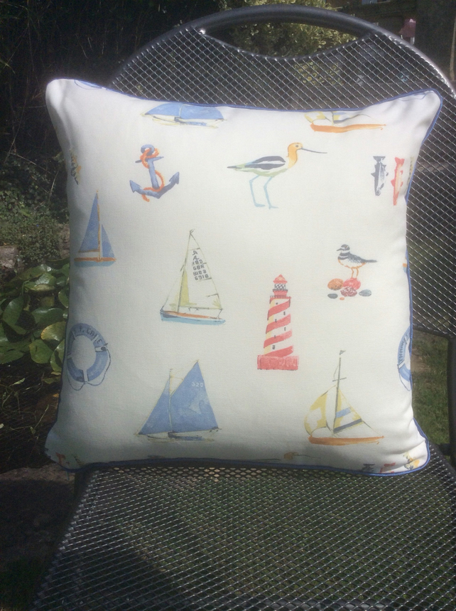 Lighthouse cushion, sailing cushion, bird lovers cushion.