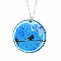 Blue enamel Birds on a wire pendant - round