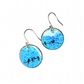 Blue enamel bird drop earrings - round