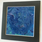Handmade blue fluid art 8x8 inches