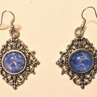 Handmade vintage style fluid art earrings, blue