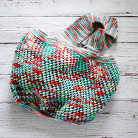 Hand Knitted cotton shopping grocery bag - mulitcolour