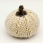 Hand knitted pumpkin pin cushion Cream Brown