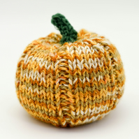 SALE - Hand knitted pumpkin pin cushion variegated orange
