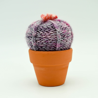Hand knitted Cactus purple with pink flower Pin cushion