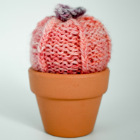 Hand knitted Cactus peach with purple flower Pin cushion