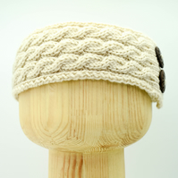 Hand Knitted Triple Braid headband in Cream
